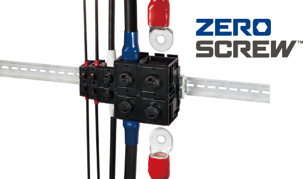 ZERO SCREW™ Terminal Block EF2 series is a spring terminal block that can connect cables to electrical equipment such as power distribution in buildings without using screws.