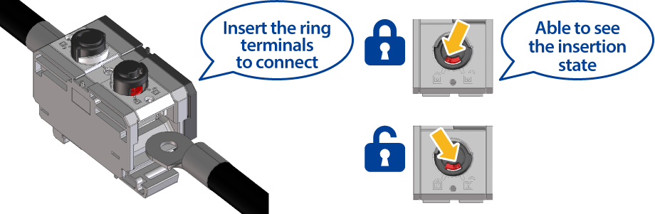 Easy connection with standard ring terminals